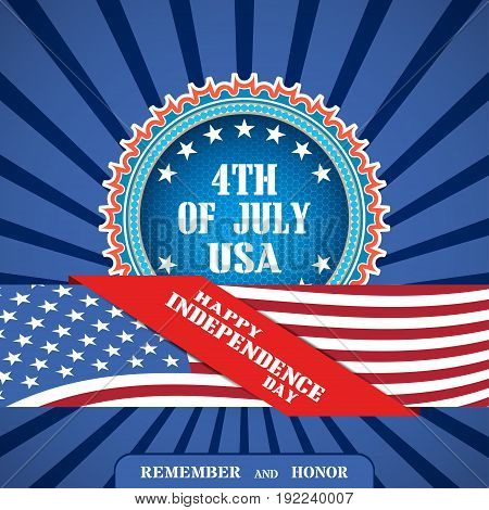 Vector poster for happy celebration of Independence Day with blue badge with hexagon mesh stripe with american flag on the dark blue background with rays.
