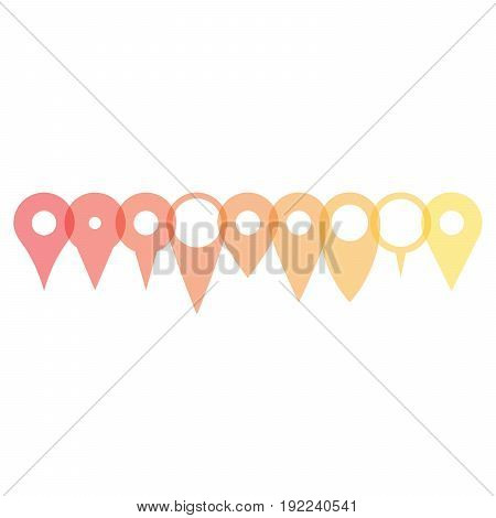 Set of various map pointers arranged in a row, patly transparent and overlapping. Simple flat silhouette of vector objects.