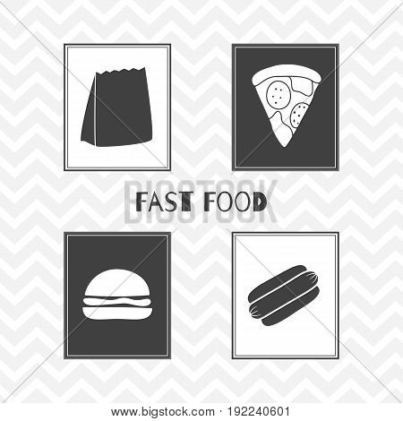 Set of hand drawn silhouettes - takeaway paper bag, hot dog, burger and pizza slice. Fast food posters. Vector illustration