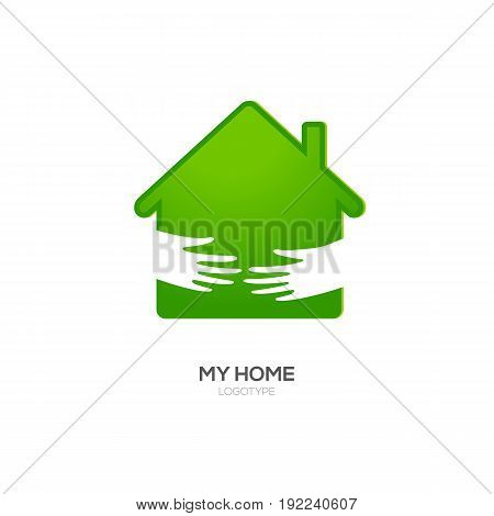 Home Logo Design Template. Vector Illustration. Two hands hold green house icon. Recommended for eco friendly, social oriented projects.