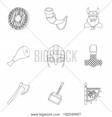 Ancient warriors of the Vikings on the ship. Outfit and symbols of the Vikings.Vikings icon in set collection on outline style vector symbol stock web illustration.