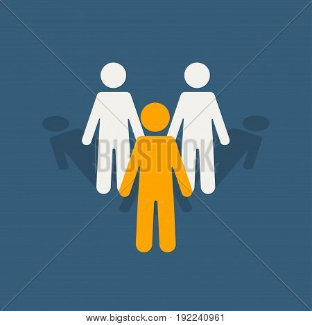 Leadership stand out of the crowd concept. Bright leader silhouette in front among others white silhouettes. Vector