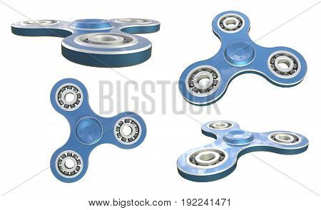 Set fidget spinner stress relieving toy blue on white backgrond. 3d illustration