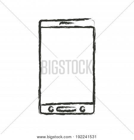 monochrome blurred silhouette of smartphone icon vector illustration