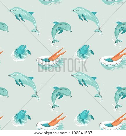Hand drawn vector abstract vintage cartoon summer time fun seamless pattern of swimming girl in swimming float circle and jumping dolphins isolated on blue water background.