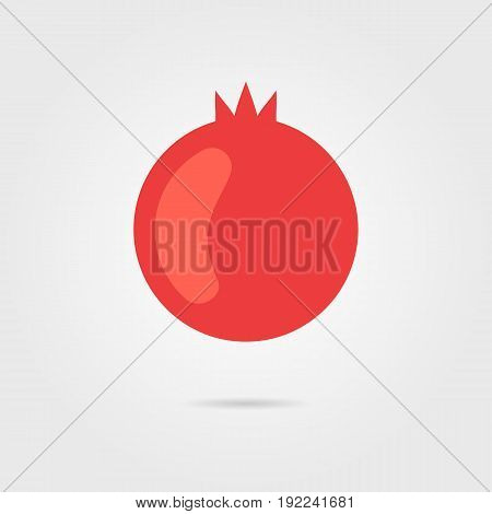 red pomegranate icon with shadow. concept of vegetarian, grenadine, fruity, flora, dainty, healthy diet. isolated on gray background. flat style trend modern logotype design vector illustration