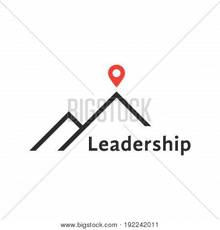 reaching the top like leadership logo. concept of travel, mountaineering, mission, climb, summit, hiking. isolated on white background. flat style trend modern brand design vector illustration