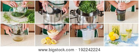 A Step By Step Collage Of Making Tarragon Lemonade