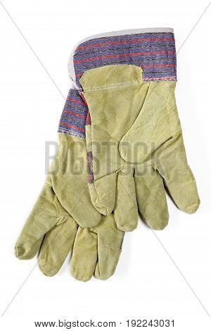 Protecting working gloves isolated on white background