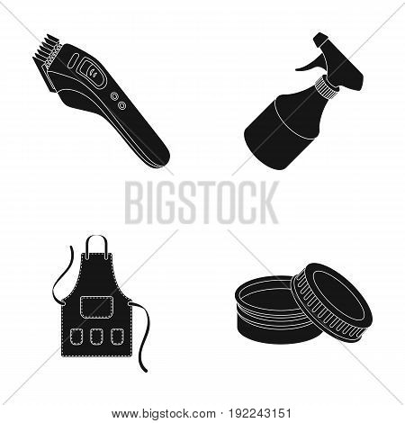 Electric clipper, apron, cream and other accessories for a male hairdresser.Barbershop set collection icons in black style vector symbol stock illustration .