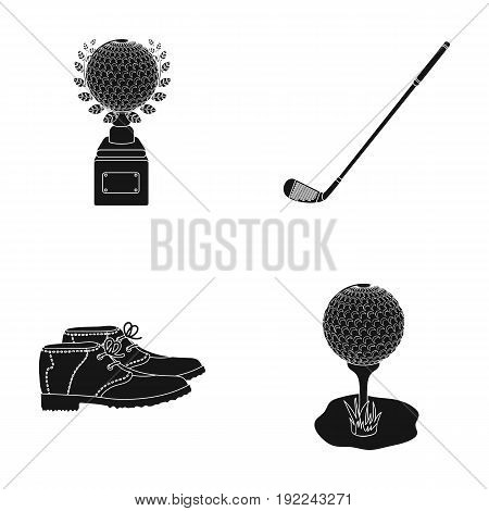 Cup, golf club, ball on the stand, golfer shoes.Golf club set collection icons in black style vector symbol stock illustration .