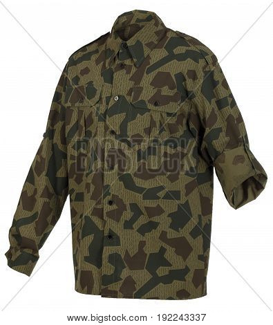 Camouflage shirt with foldable sleeve isolated on white background