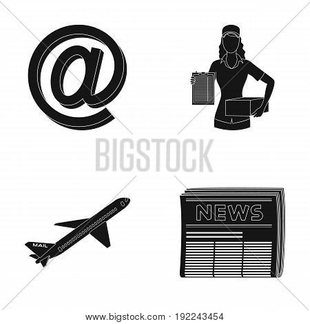 Email symbol, courier with parcel, postal airplane, pack of newspapers.Mail and postman set collection icons in black style vector symbol stock illustration .