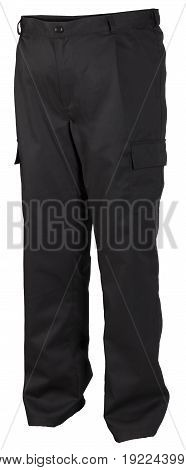 Protective Black Work Trousers Isolated On White Background