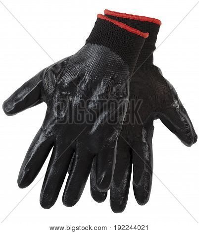 Protective Gloves, Half Nitrile Dipped With Knitted Cuff Isolated On White