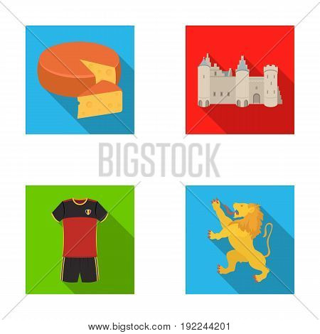 Cheese, lion and other symbols of the country.Belgium set collection icons in flat style vector symbol stock illustration .