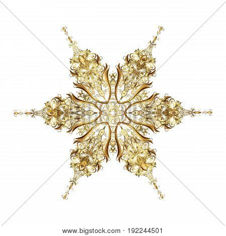 Beautiful vector golden snowflakes isolated on white background. Illustration. Snowflakes snowfall. Falling Christmas stylized gold snowflakes.
