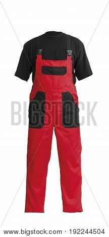 Protective worker's red overall and black t-shirt isolated on white background