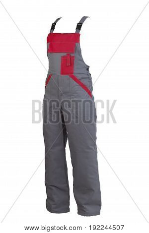 Protective worker's grey trou with buckles isolated on white background