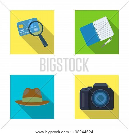 Camera, magnifier, hat, notebook with pen.Detective set collection icons in flat style vector symbol stock illustration .