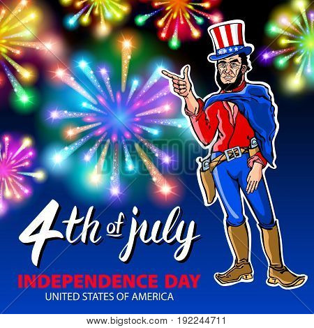 illustration of a men celebrating independence day vector poster 4th of july lettering american red on blue background with stars burst firework art