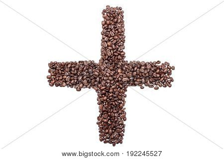 Plus sign of coffee beans isolated on white background.