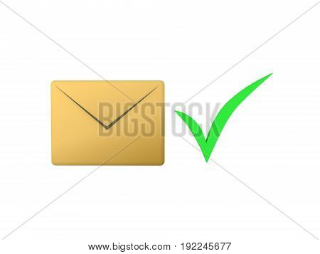 3D illustration of an email envelope icon with a green check mark next to it. Isolated on white.