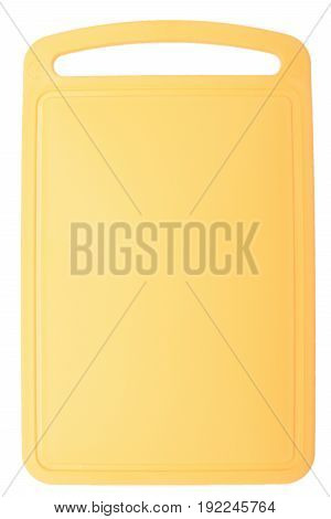 Colored Yellow Plastic Cutting Board, Ionized On White Background