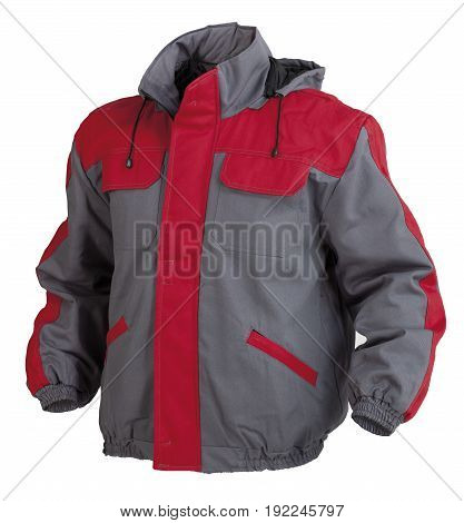 Protective working jacket with hoodie isolated on white background