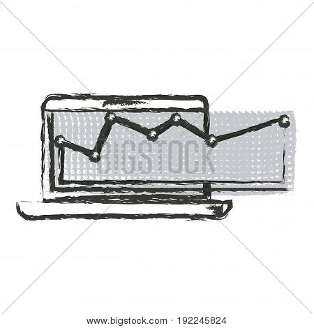 monochrome blurred silhouette of laptop computer and financial risk graphic vector illustration