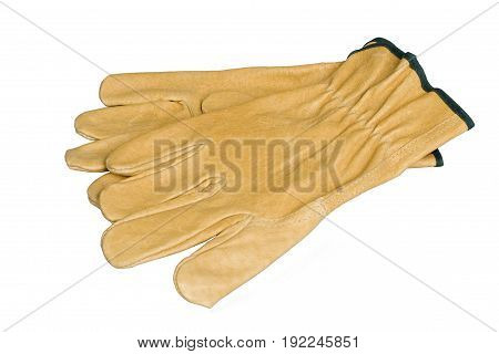 Real leather work gloves isolated on white background