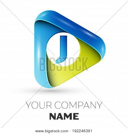 Realistic Letter J vector logo symbol in the colorful triangle on grey background. Vector template for your design