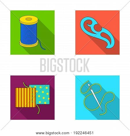 A spool with threads, a needle, a curl, a seam on the fabric.Sewing or tailoring tools set collection icons in flat style vector symbol stock illustration .