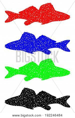 zander silhouette color set vector , (Sander lucioperca)