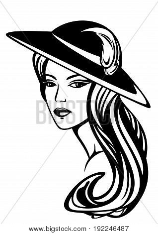 elegant woman with long hair wearing hat - black and white vector design