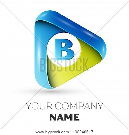 Realistic Letter B vector logo symbol in the colorful triangle on grey background. Vector template for your design