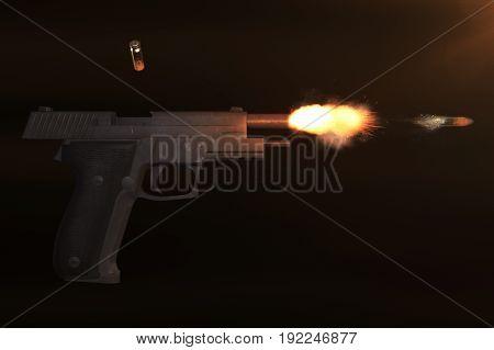 Realistic 3D Illustration Of A Pistol Shot And A Bullet Flight