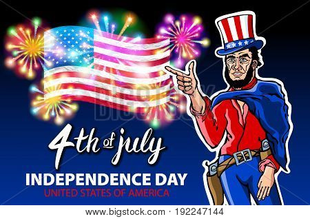 Illustration Of A Men Celebrating Independence Day Vector Poster. 4Th Of July Lettering. American Re