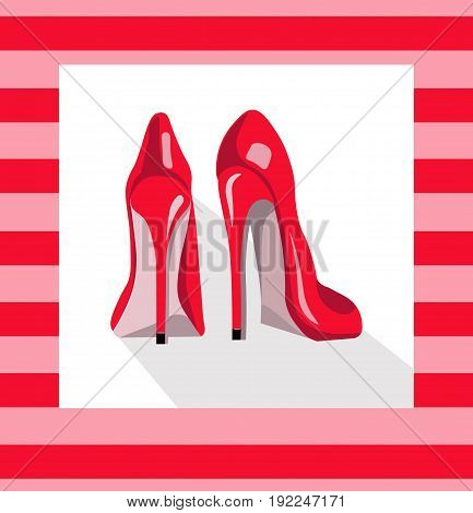 Red sexy shoes on pink background. Vector illustrations