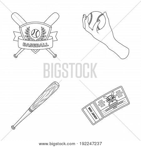 Club emblem, bat, ball in hand, ticket to match. Baseball set collection icons in outline style vector symbol stock illustration .