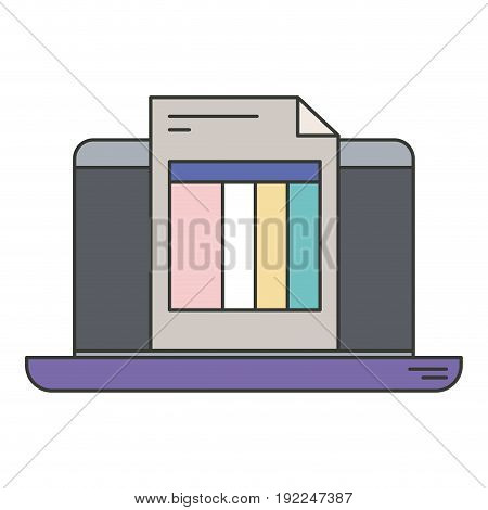 colorful silhouette of laptop computer and billing sheet vector illustration