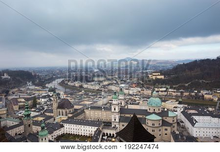Aerial image of Mozart town in Austria in winter. Salzburg cityscape