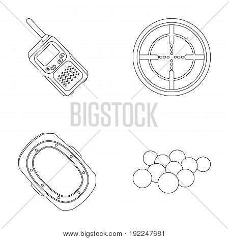 Balls with paint and other equipment. Paintball single icon in outline style vector symbol stock illustration .