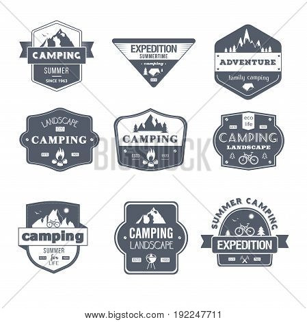 Camping Activity - vector set of vintage template logo insignias. Old fashion style emblems, badges of family camping, landscape, summertime expedition. Apparel, leaflet, brochure, sticker design.