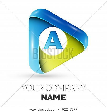 Realistic Letter A vector logo symbol in the colorful triangle on grey background. Vector template for your design