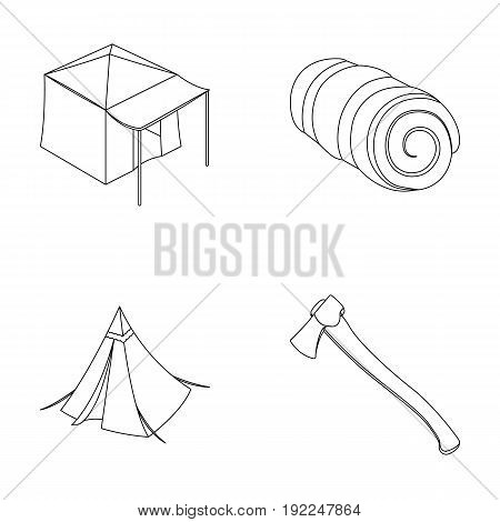 Tent with awning, ax and other accessories.Tent set collection icons in outline style vector symbol stock illustration .