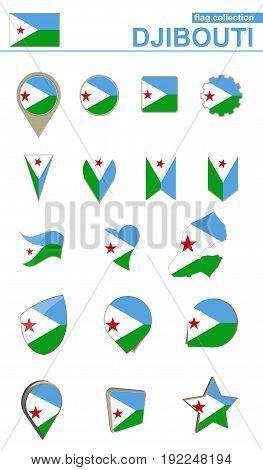 Djibouti Flag Collection. Big Set For Design.