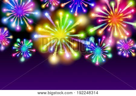 Purple Starry Fireworks Background With Place For Text