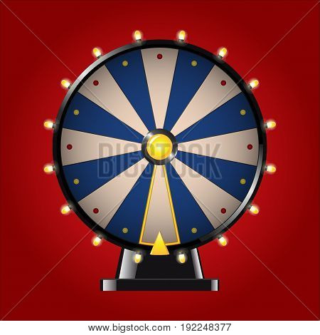 Wheel of Fortune - realistic modern vector image. Red background. Use this quality clip art elements for your design. Play a game of chance, roulette. Win a big prize, earn a trophy.