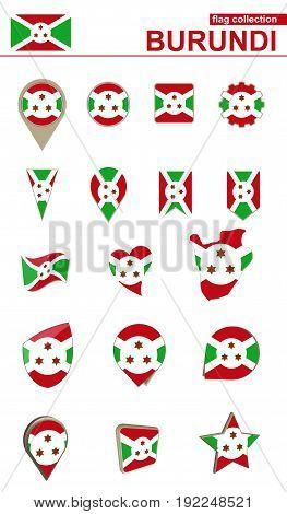 Burundi Flag Collection. Big Set For Design.